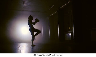 Woman Punches In Boxing Gym. Shadow Boxing. - Female Boxer...