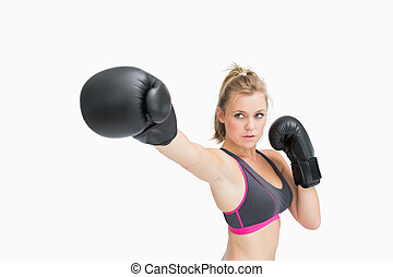 Woman punching the air