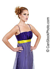 woman purple dress hand hips