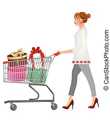 Woman pushing a shopping cart full with gifts