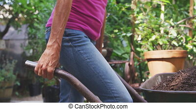 Woman pushing a wheelbarrow and gardening in a botanical ...