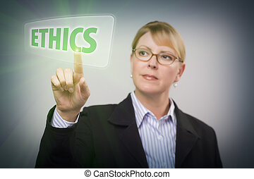 Attractive Blonde Woman Pushing Ethics Button on an Interactive Touch Screen.