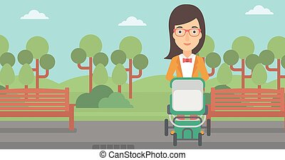 Woman pushing pram.