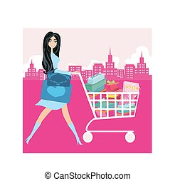 Woman pushing shopping card