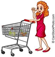 Woman pushing shopping cart on white background illustration