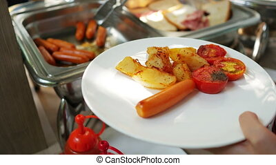 Catering or breakfast buffet at a hotel