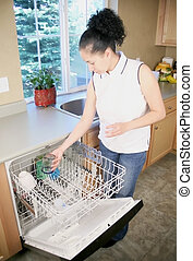 Woman putting dishes in dishwasher