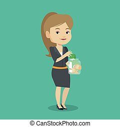 Woman putting dollar money into glass jar.