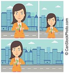 Woman putting money in pocket vector illustration.