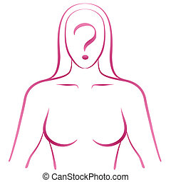 Silhouette of a woman with a question mark in her face. Isolated vector illustration on white background.