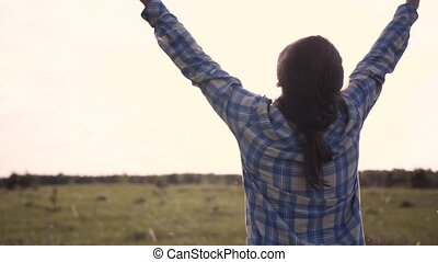 Woman Raises Hands Up Rejoice In Nature