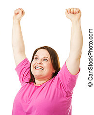 Woman raising Arms in Celebration