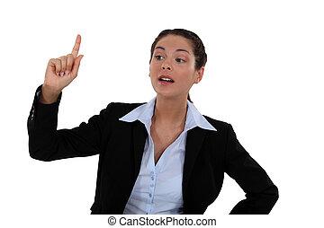 Woman raising her hand