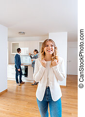 Woman raving about the apartment she and her man are going to rent