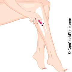 Woman Razoring Legs