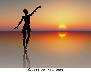 Woman reaching for the rising sun - Silhouette of a young...