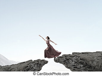 Woman reaching hand