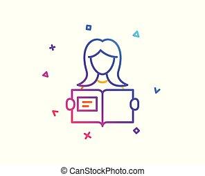 Woman read a Book line icon. Education symbol. Vector