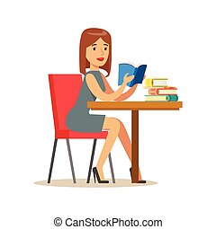 Woman Reading A Book At The Table, Smiling Person In The Library Vector Illustration