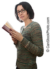 Woman reading a book - Woman forty years old, with glasses...