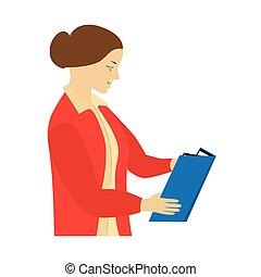 Woman reading a book. Teacher.