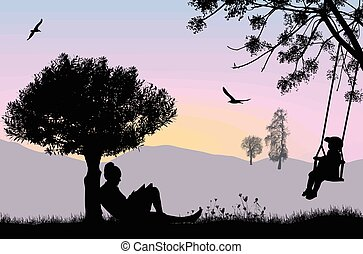 Woman reading a book under the tree on beautiful landscape