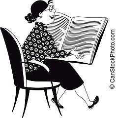 Woman reading a children book