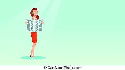 Woman reading a newspaper vector illustration. - Cheerful...