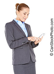 Woman reading an sms on her mobile phone