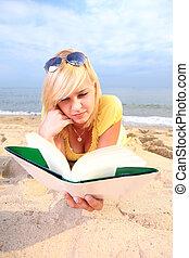 woman reading book girl yellow dress
