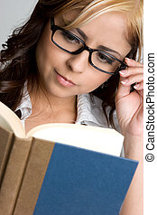 Woman Reading Book - Beautiful young woman reading book