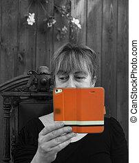 Woman reading ebook