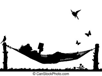 Woman Reading a book relaxing in a Hammock isolated on white...