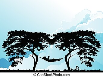 Woman reading in a hammock resting - Silhouetted woman ...
