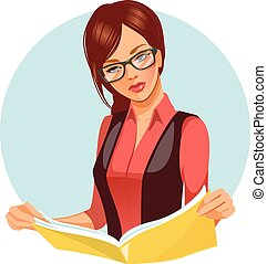 Portrait of brunette woman reading book. Beautiful woman wearing glasses reading newspaper. Vector illustration of student learning. Business woman in black and red costume looking for information.
