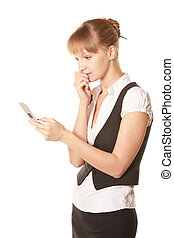 Woman reading message