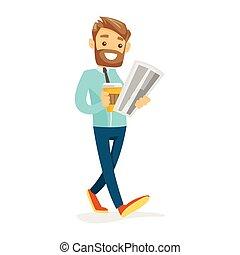 Woman reading newspaper vector illustration. - Cheerful...