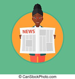 Woman reading newspaper vector illustration. - An...