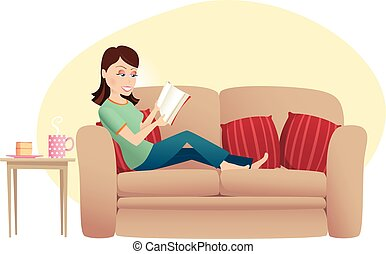 Woman reading on sofa - An illustration of a young woman ...