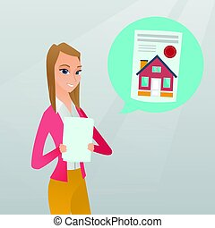 Woman reading real estate advertisement.