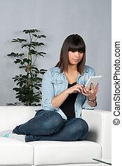 Woman reads an ebook