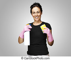 woman ready to clean