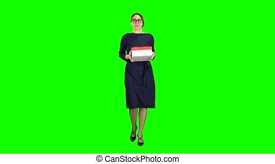 Woman received a gift and is glad. Green Screen