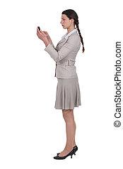 Woman receiving a text message