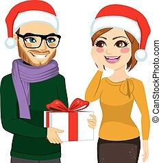 Woman Receiving Christmas Present