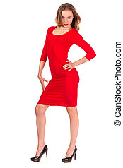 Woman red dress portrait isolated on white background.