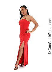 Beautiful woman in red formal dress. Shot over white.