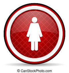woman red glossy icon on white background