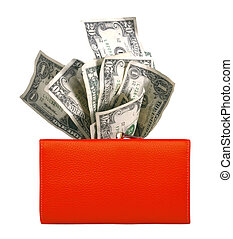 Woman red purse (wallet) with money isolated on white