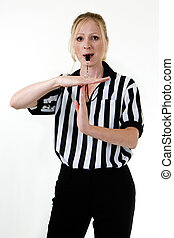 Woman referee with whistle - Attractive blonde woman wearing...